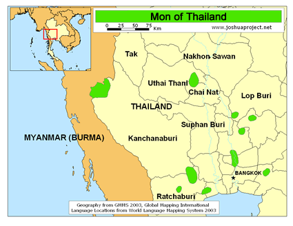 Mon in Thailand map