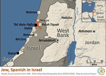 Jew, Spanish in Israel map