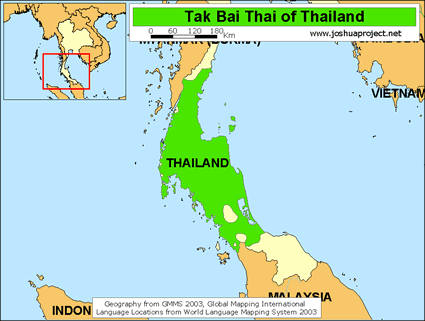 Thai, Tak Bai in Thailand map