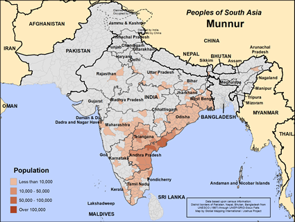 Munnur in India map