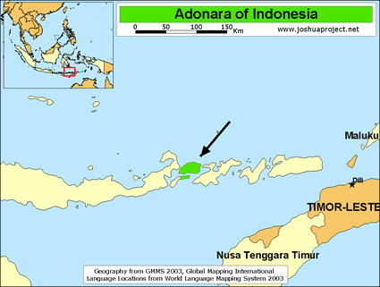 Adonara in Indonesia map