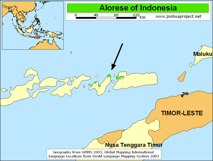 Alorese in Indonesia map
