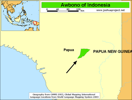 Awbono in Indonesia map