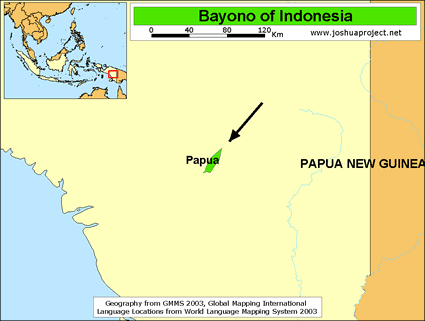 Bayono in Indonesia map