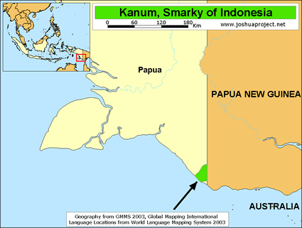 Kanum, Smarky in Indonesia map