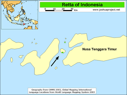 Retta in Indonesia map