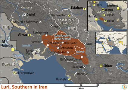 Luri, Southern in Iran map