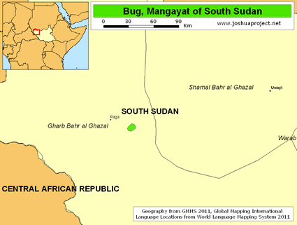 Bug, Mangayat in South Sudan map