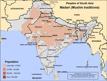 Madari (Muslim traditions) in Sri Lanka map