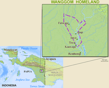 Wanggom in Indonesia map