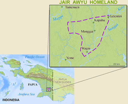 Awyu, Jair in Indonesia map