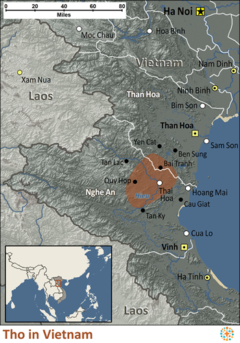 Tho in Vietnam map