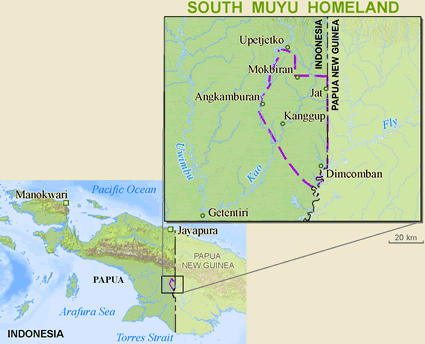 Muyu, South in Indonesia map