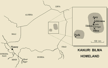 Kanuri, Bilma in Niger map