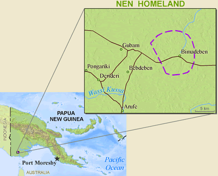 Nen in Papua New Guinea map