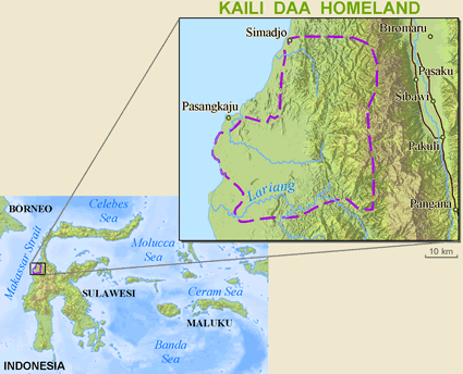 Kaili Unde, Daa in Indonesia map