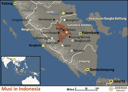 Musi in Indonesia map