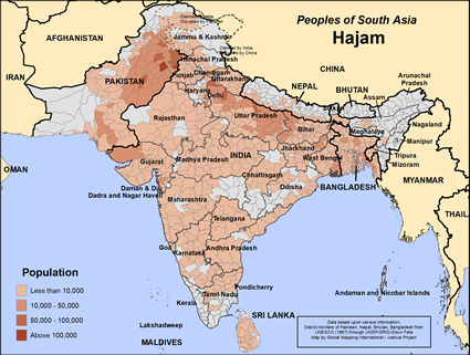 Hajam in Pakistan map