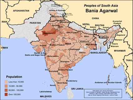 Bania Agarwal in India map