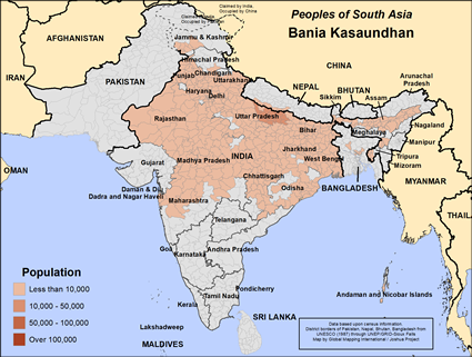 Bania Kasaundhan in India map