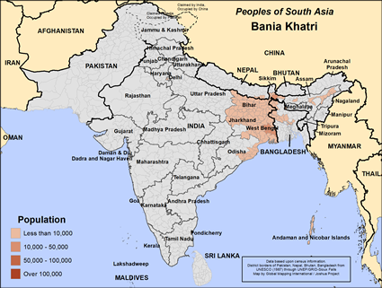 Bania Khatri in India map