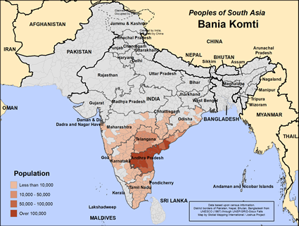 Bania Komti in India map