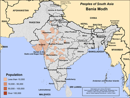 Bania Modh in India map