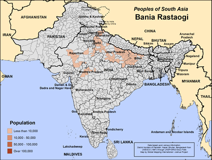 Bania Rastaogi in India map