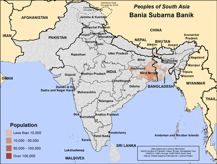 Bania Subarna Banik in India map
