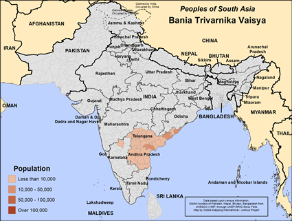 Bania Trivarnika Vaisya in India map