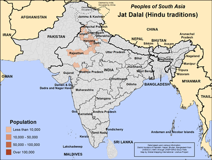 Jat Dalal in India map