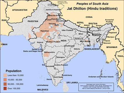 Jat Dhillon (Hindu traditions) in India map