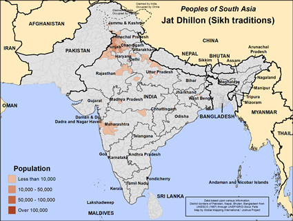 Jat Dhillon (Sikh traditions) in India map