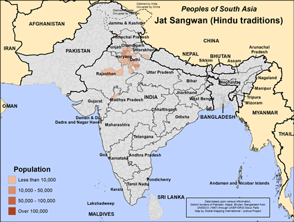 Jat Sangwan (Hindu traditions) in India map