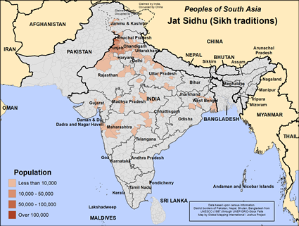 Jat Sidhu (Sikh traditions) in India map