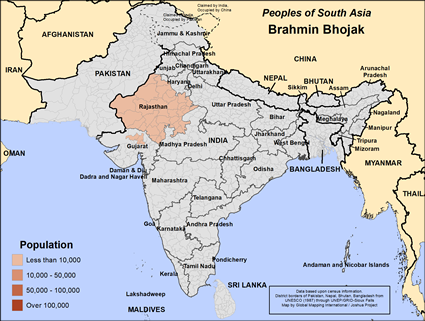 Brahmin Bhojak in India map