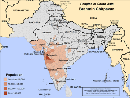 Brahmin Chitpavan in India map