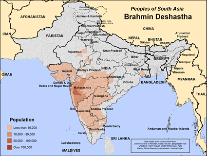 Brahmin Deshastha in India map