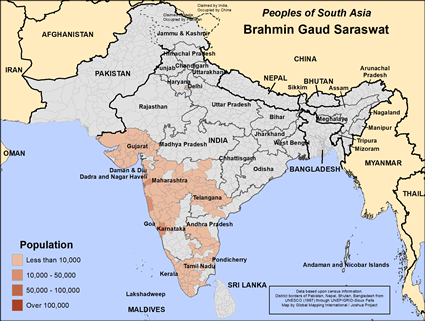 Brahmin Gaud Saraswat in India map