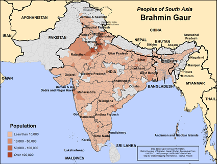 Brahmin, Gaur in India map