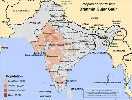 Brahmin Gujar Gaur in India map