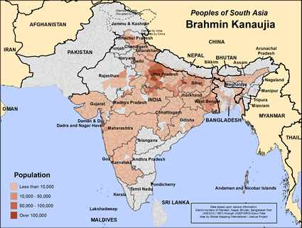 Brahmin Kanaujia in India map