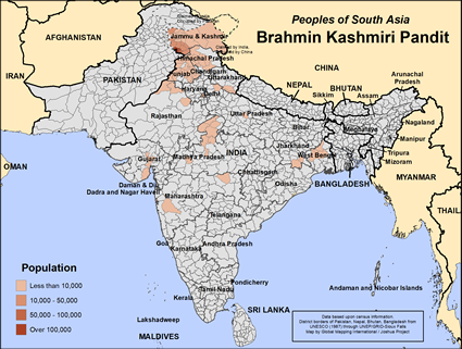 Brahmin Kashmiri Pandit in India map