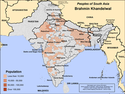 Brahmin Khandelwal in India map