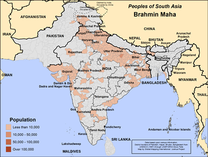 Brahmin Maha in India map