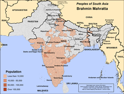 Brahmin Mahratta in India map