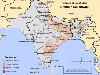 Brahmin Sakaldwipi in India map