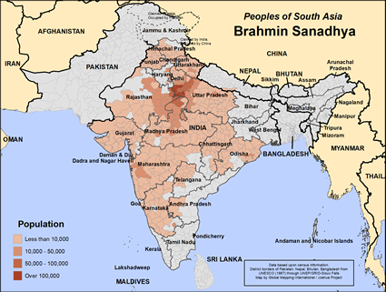 Brahmin Sanadhya in India map