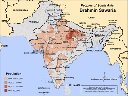 Brahmin Sawaria in India map