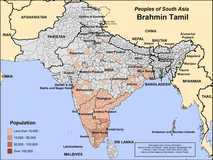 Brahmin Tamil in India map